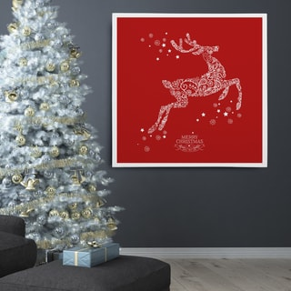 'Holiday Reindeer' Red Stencil Premium Gallery-wrapped Canvas