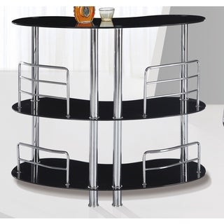 Global Furniture Black/Silver Metal/Glass Two-shelf Mini Bar