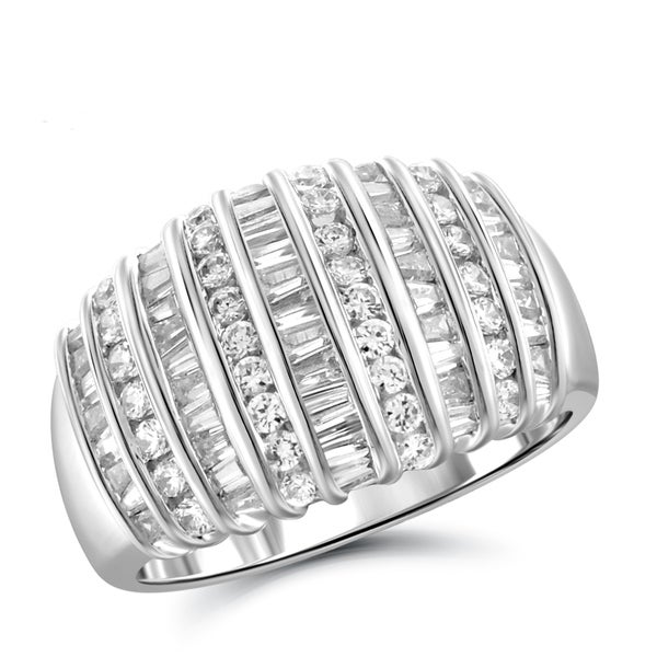 Jewelonfire Sterling Silver, Yellow Gold Over Sterling Silver 1.00ct TDW White Diamond Dome Ring