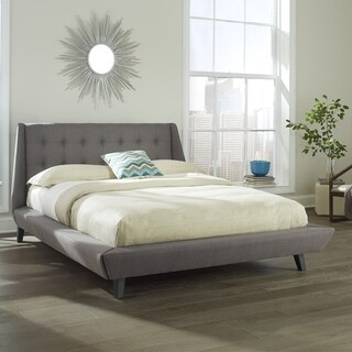 Prelude Complete Platform Bed with Button-Tuft Headboard and Upholstered Exterior