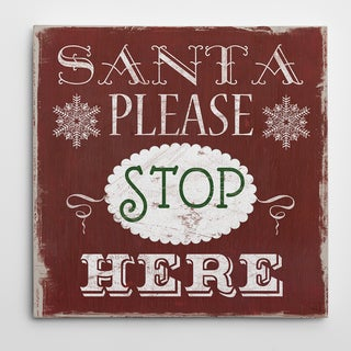 'Santa Stop Here' Typography Premium Gallery-wrapped Canvas