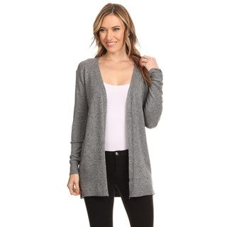 High Secret Women's Polyester and Spandex Solid Long-sleeve Open-front Cardigan