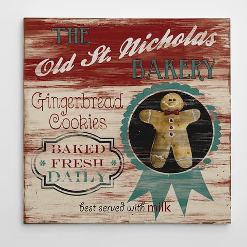 Vintage Ad 'St. Nick Bakery' 16-inches, 24-inches, or 36-inches Square Premium Gallery Wrapped Canvas