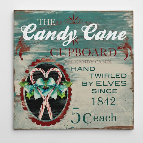 Wexford Home 'Vintage Ad: Candy Canes' Premium Gallery Wrapped Canvas Wall Art (16 x 16, 24 x 24, 36 x 36)