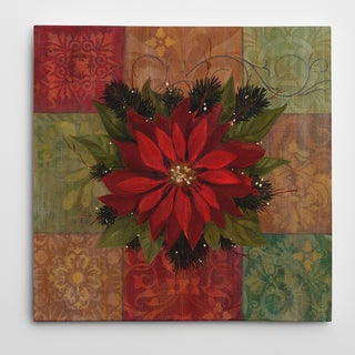 Wexford Home '9 Patch Poinsettia' Gallery-wrapped Canvas Art