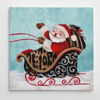 'Santa and His Sleigh' Premium Gallery-wrapped Canvas