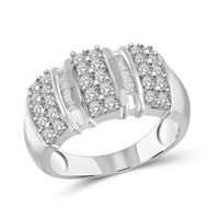 Jewelonfire Sterling Silver 1.00ct TDW White Diamond Round & Baguette Strip Ring