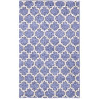 Light Blue/ Beige Small Geometric Trellis Area Rug (3'5 x 5')