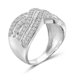 Jewelonfire Sterling Silver, Yellow Gold Over Sterling Silver 1.00ct TDW White Diamond Infinity Ring (I-J, I2-I3)