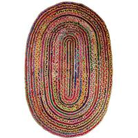 Celebration Chindi Multicolor Cotton/Jute Braided Handwoven Oval Rug - 4' x 6'