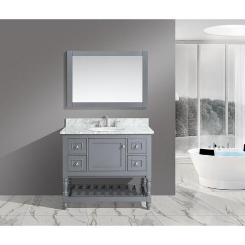 Silvia 42-inch Bathroom Sink and Vanity Set with White Italian Carrara Marble Top