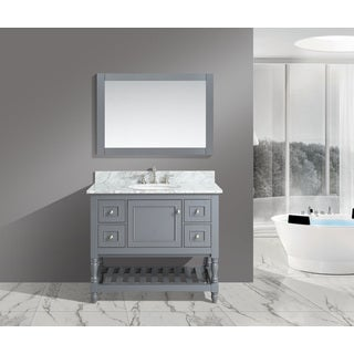 Silvia 42-inch Bathroom Sink and Vanity Set with White Italian Carrara Marble Top