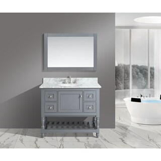 Silvia 42-inch Bathroom Sink and Vanity Set with White Italian Carrara Marble Top (3 options available)