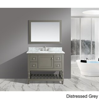 Silvia 42-inch Bathroom Sink and Vanity Set with White Italian Carrara Marble Top (2 options available)