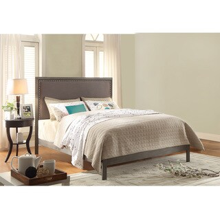 Normandy Platform Bed with Metal Frame and Steel Gray Upholstered Headboard