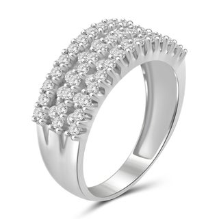 Jewelonfire Sterling Silver, Yellow Gold Over Sterling Silver 1.00ct TDW White Diamond Two slant Row Ring (I-J, I2-I3)