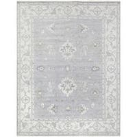 Pasargad's Oushak Collection Grey/Ivory Wool Hand-knotted Rug (10' x 14') - 10' x 14'