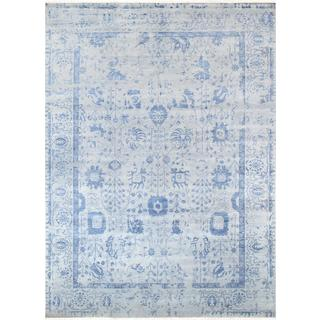 Pasargad's Transitiona Collection Hand-Knotted Silver/Blue Wool Area Rug (9' X 12')