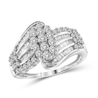 Jewelonfire Sterling Silver, Yellow Gold Over Sterling Silver 1.00ct TDW White Diamond Bypass Cluster Ring (I-J, I2-I3)