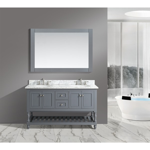 'Silvia' 60-inch Bathroom Sink Vanity Set with White Marble Top