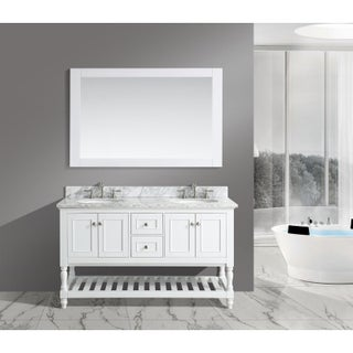 'Silvia' 60-inch Bathroom Sink Vanity Set with White Marble Top (3 options available)