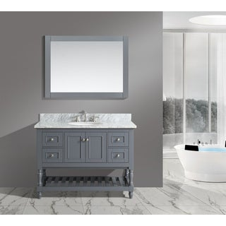 Silvia White/ Grey Marble/ Wood 48-inch Bathroom Sink Vanity Set