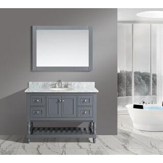 Silvia White/ Grey Marble/ Wood 48-inch Bathroom Sink Vanity Set