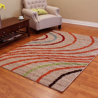 DonnieAnn Deluxe Tan/ Orange Polypropylene Shag Area Rug (5' x 7')