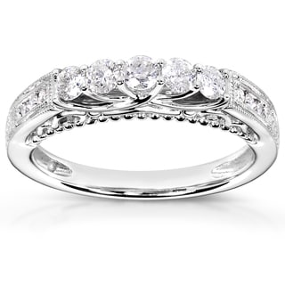 Annello by Kobelli 14k White Gold 1/2ct TDW Round-cut Diamond Floral Band
