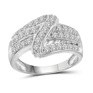 Jewelonfire Sterling Silver, Yellow Gold Over Sterling Silver 1.00ct TDW White Diamond Cross-over Strip Ring (I-J, I2-I3)