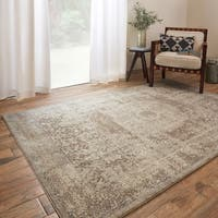 Traditional Taupe/ Beige Medallion Border Rug - 9'6 x 13'