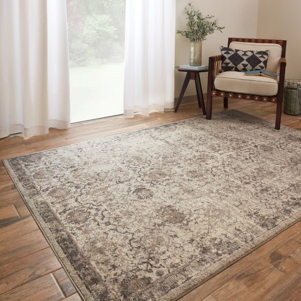 Traditional Beige/ Taupe Floral Distressed Rug - 12' x 15'