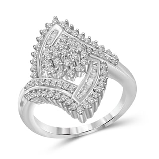 Jewelonfire Sterling Silver 1.00ct TDW White Diamond Cluster Ring