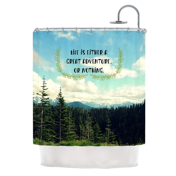 Kess InHouse Robin Dickinson Life Is... Landscape Typography Shower Curtain