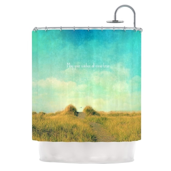 Kess InHouse Robin Dickinson May Your Wishes Blue Brown Shower Curtain