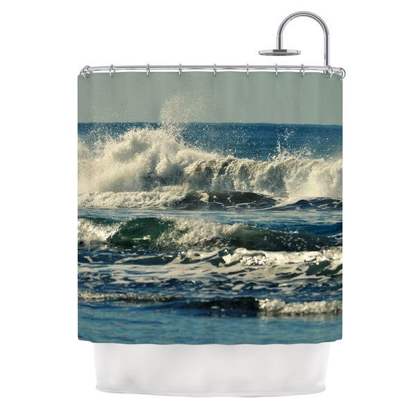 Kess InHouse Robin Dickinson Forever Young Blue Coastal Shower Curtain