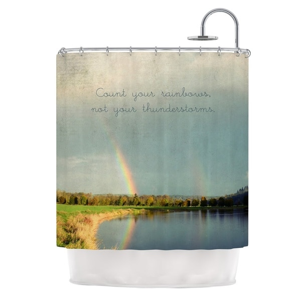 Kess InHouse Robin Dickinson Count Rainbows Nature Typography Shower Curtain