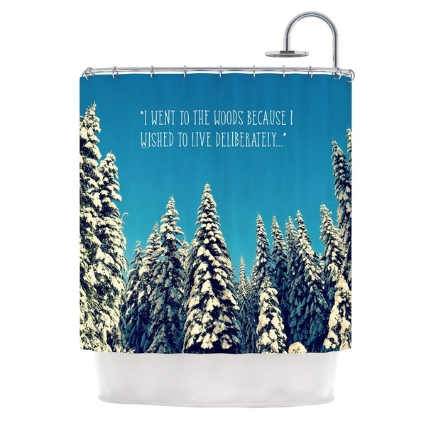 Kess InHouse Robin Dickinson I Went To The Woods Blue White Shower Curtain