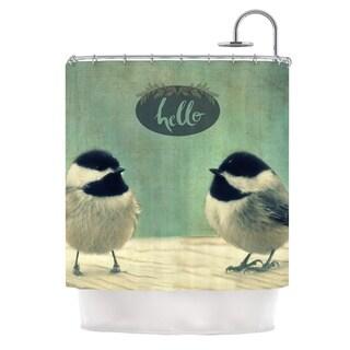 Kess InHouse Robin Dickinson Hello Birds Green Typography Shower Curtain