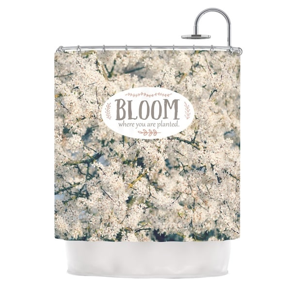 Kess InHouse Robin Dickinson Bloom Where You Are Planted White Floral Shower Curtain