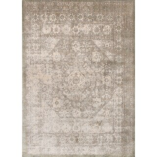 Traditional Grey/ Sage Medallion Distressed Rug - 13' x 18'