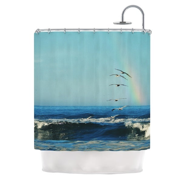 Kess InHouse Robin Dickinson I'll Follow Blue Coastal Shower Curtain