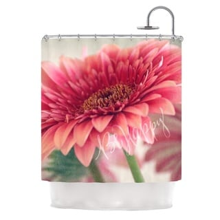 Kess InHouse Robin Dickinson Be Happy Pink Floral Shower Curtain
