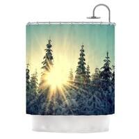 Kess InHouse Robin Dickinson Shine Bright Snowy Trees Shower Curtain