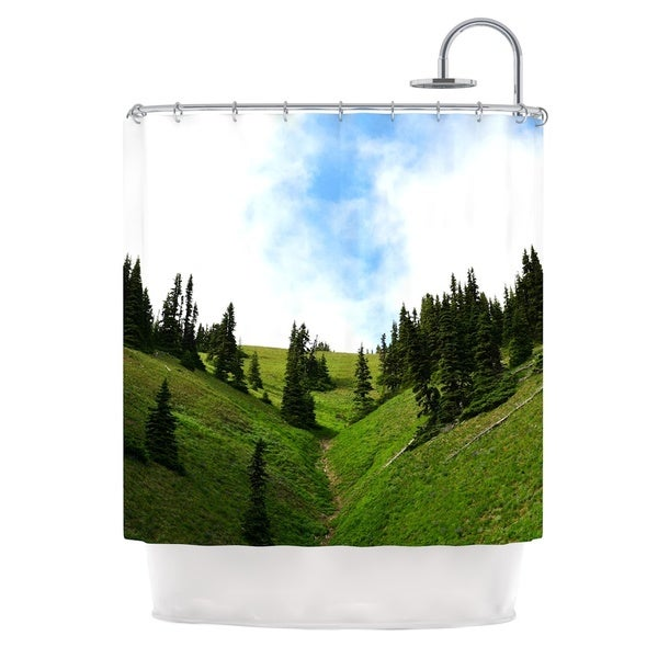 Kess InHouse Robin Dickinson Going To The Mountains Green Blue Shower Curtain