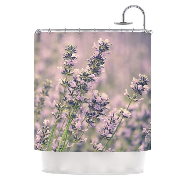 Kess InHouse Robin Dickinson Smell The Flowers Lavender Green Shower Curtain