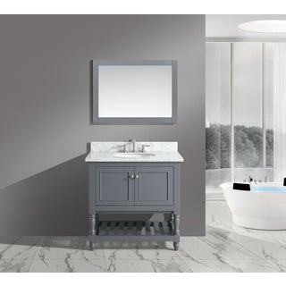 Silvia White Italian Carrara Marble 36-inch Bathroom Sink Vanity Set