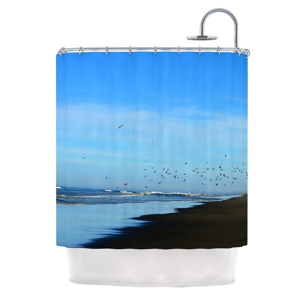 Kess InHouse Robin Dickinson Beach Hair Blue Coastal Shower Curtain