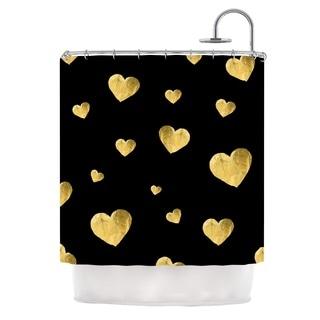 Kess InHouse Robin Dickinson Floating Hearts Gold Black Shower Curtain