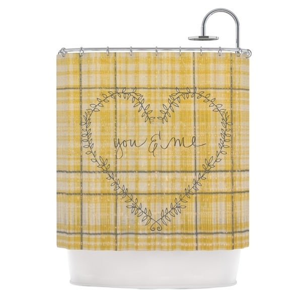 Kess InHouse Robin Dickinson You & Me Yellow Shower Curtain